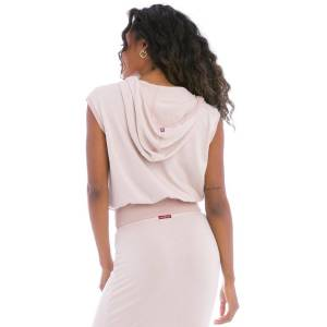 Hard Tail Forever Butter Terry Cropped Hoodie Vest - Rose Quartz - XS