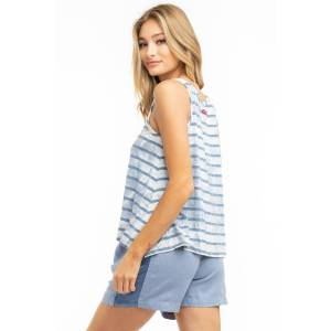 Hard Tail Forever Chambray Stripe A-Line Tank Top - Storm Wash 2 - M