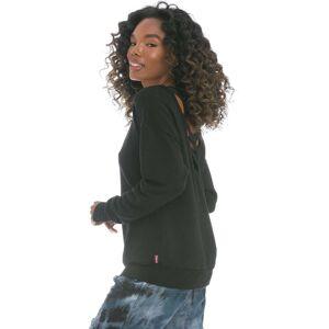 Hard Tail Forever Satin Lattice Back Cloud Fleece Pullover - Black - XS