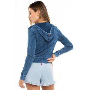 Hard Tail Forever Rib Waisted Zip Up Hoodie - Mineral Wash 5 - XS