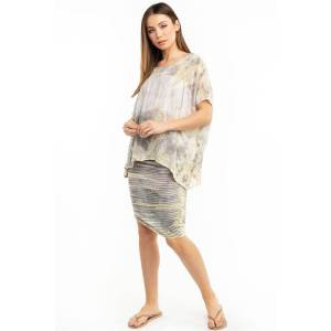 Hard Tail Forever Organic Stripe Shirred Poet Skirt - Storm Wash 3 - XS