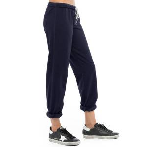 Hard Tail Forever Lurex Slouchy Elastic Bottom Sweatpant - Navy Gold - L
