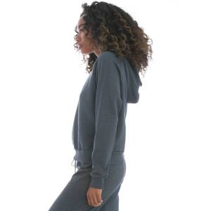 Hard Tail Forever Lurex Crop Pullover Hoodie - Steel Blue Gold - XS