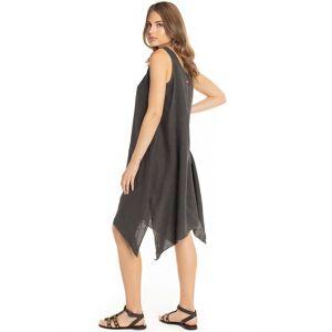 Hard Tail Forever Indigo Stripe Riviera Linen Dress - Olive - XL