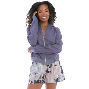 Hard Tail Forever Linen Zip Front Hoodie - Dusk - XS