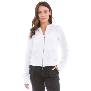 Hard Tail Forever Linen Zip Front Hoodie - White - XS