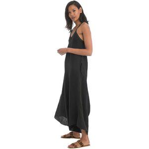 Hard Tail Forever Loop Back Draped Linen Jumper Dress - Black - M