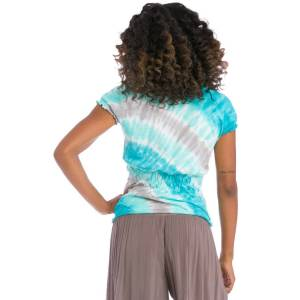 Hard Tail Forever Short Sleeve Ruched Back T-Shirt - Wave Wash 1 - L