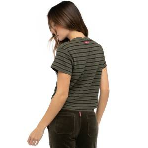 Hard Tail Forever Multi Stripe Thermal Crop T-Shirt - Olive - M