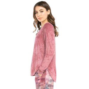 Hard Tail Forever Pane Velour Long Sleeve Shoulder Slide Raglan T-Shirt - Dusty Rose - XL