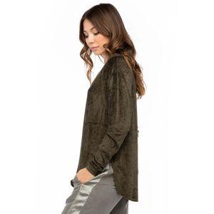 Hard Tail Forever Pane Velour Long Sleeve Shoulder Slide Raglan T-Shirt - Olive - S
