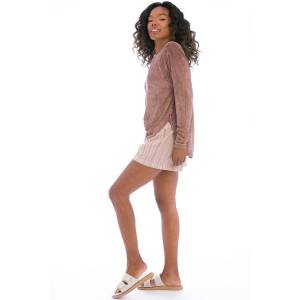 Hard Tail Forever Frisco Stripe Elastic Waist Short - Rose Quartz - L