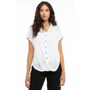 Hard Tail Forever Twisty Button Front Shirt - White - S