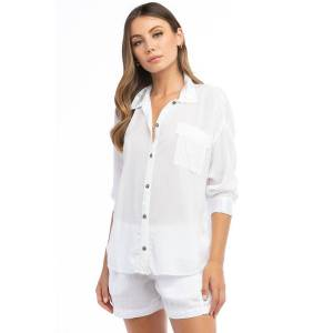 Hard Tail Forever 3/4 Sleeve Color Block Button Shirt - White - M