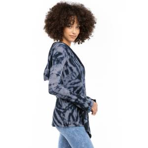 Hard Tail Forever Bell Sleeve Hooded Swing Thermal Cardigan Sweater - Electric Mineral Wash 8 - S