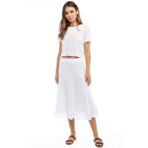 Hard Tail Forever Double Layered Midi Voile Skirt - White - S