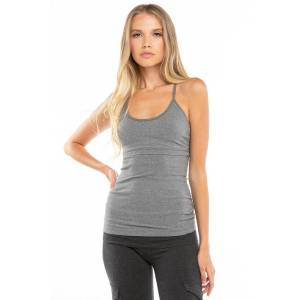 Hard Tail Forever Empire Cut-Out Tank Top - Charcoal Heather Gray - L