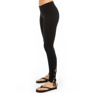 Hard Tail Forever Contour Rolldown Side Laced Legging - Black - XS