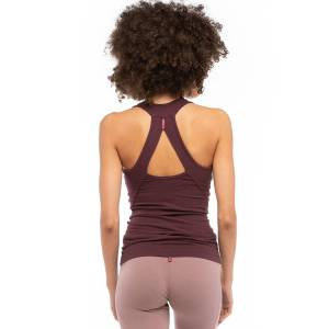 Hard Tail Forever Asana Tank Top with Bra - Red Plum - S