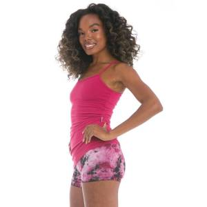 Hard Tail Forever Side Shirred Asymmetric Tank Top - Dragonfruit - M