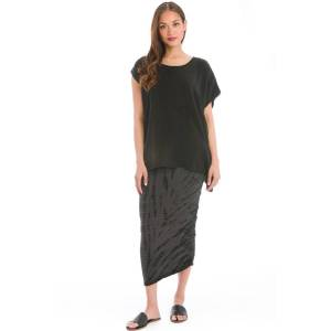 Hard Tail Forever Side Shirred Asymmetric Skirt - All Over Lizard 1-Dark Charcoal Heather Gray - XS