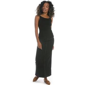 Hard Tail Forever Long Jean Skirt With Back Inset - Black - XL