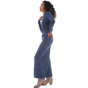 Hard Tail Forever Long Button Front Jean Skirt - Mineral Wash 8 - XS