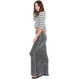 Hard Tail Forever Racing Stripe Long Jean Skirt - Mineral Wash 6 - XL