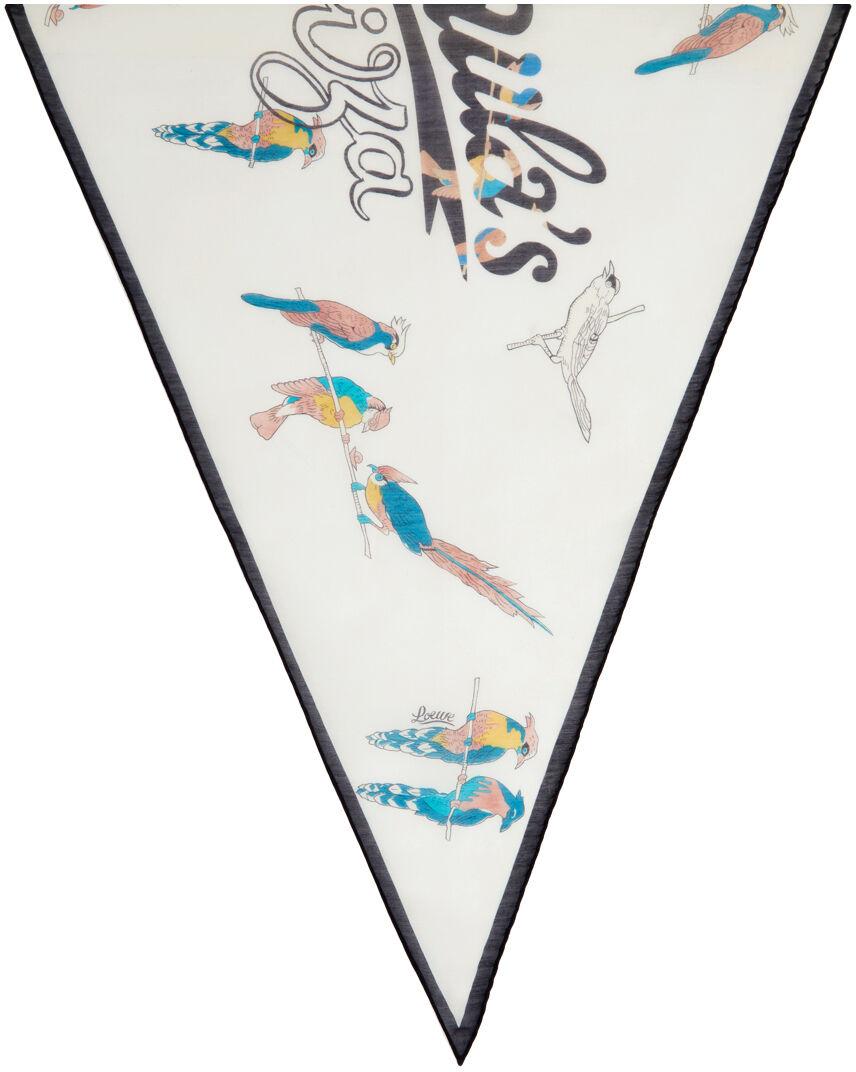 Loewe Off-White Paula's Ibiza Parrot Scarf  - 2425 ECRU/BLACK - Size: UNI
