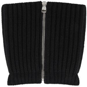 Alexander McQueen Black Wool & Cashmere Zip Scarf  - 1000 BLACK - Size: Small