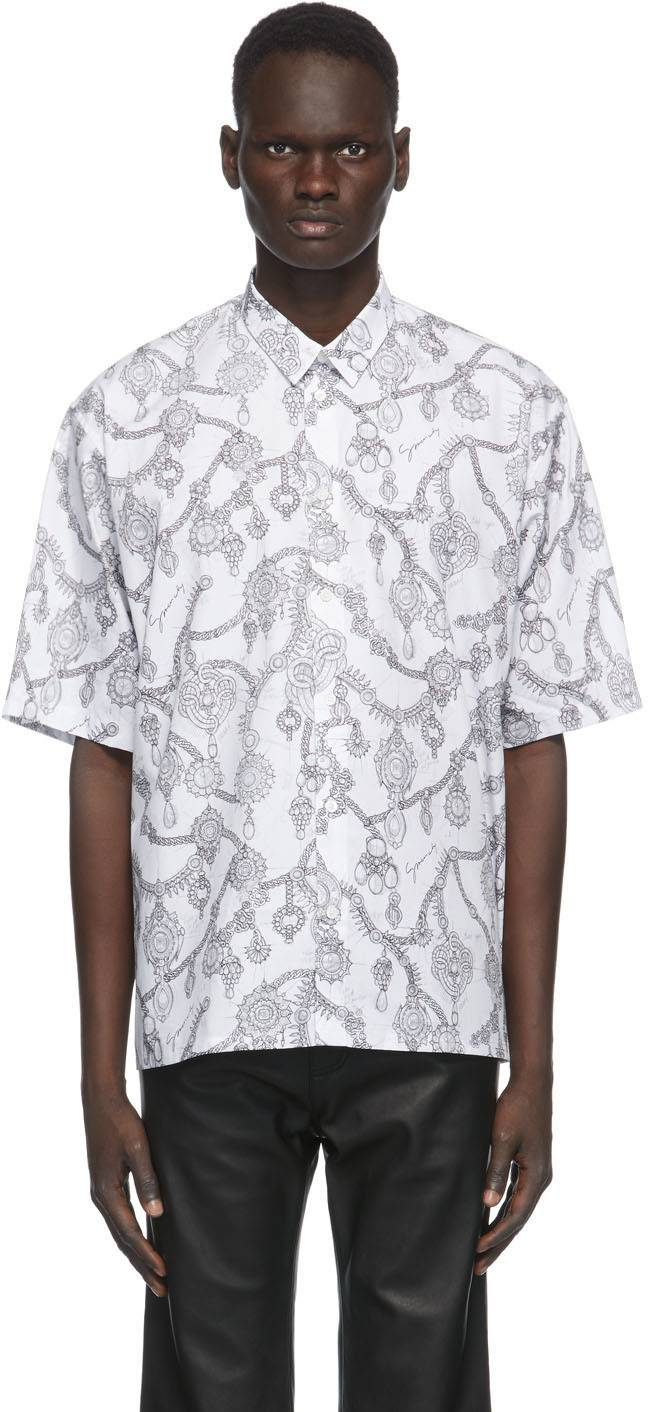 Givenchy White Jewelry Print Loose Fit Shirt  - 100-WHITE - Size: Medium