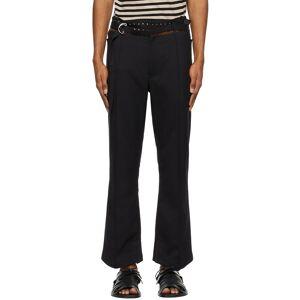 BED J.W. FORD Black Side Slit Flea Trousers  - BLACK - Size: 32