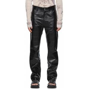 Givenchy Black Leather Croc Embossed Pants  - 001-BLACK - Size: 30