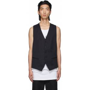 Ann Demeulemeester Black Cotton & Linen Vest  - BLACK - Size: Extra Small