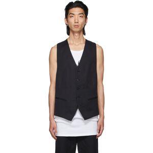 Ann Demeulemeester Black Cotton & Linen Vest  - BLACK - Size: Large