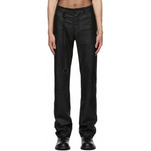 Ann Demeulemeester Black Leather Angelina Trousers  - BLACK - Size: 28