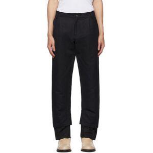 Ann Demeulemeester Black Cotton & Linen Double Hem Trousers  - BLACK - Size: 36