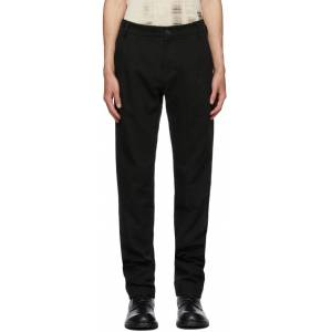 Ann Demeulemeester Black Cotton & Linen Straight-Leg Trousers  - BLACK - Size: 36