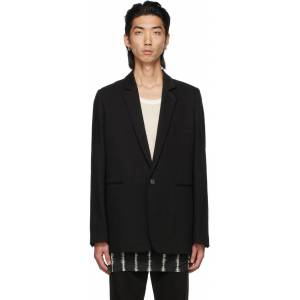 Ann Demeulemeester Black Cotton & Linen Single-Button Tailored Blazer  - BLACK - Size: Extra Large