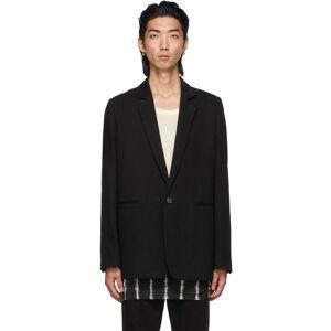 Ann Demeulemeester Black Cotton & Linen Single-Button Tailored Blazer  - BLACK - Size: Small