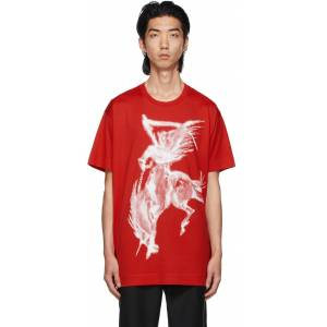 Givenchy Red Gothic Print T-Shirt  - 600-RED - Size: Small