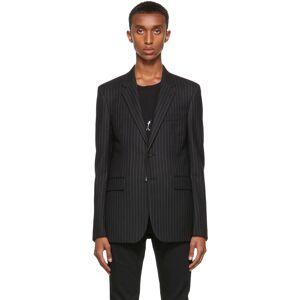 Saint Laurent Black Flannel Rive Gauche Stripe Blazer  - 1070 BLACK/WHITE - Size: Large