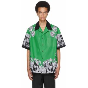 Valentino Green & Black Dark Blooming Short Sleeve Shirt  - C42 VERDE/DARK BLOOM - Size: Extra Small