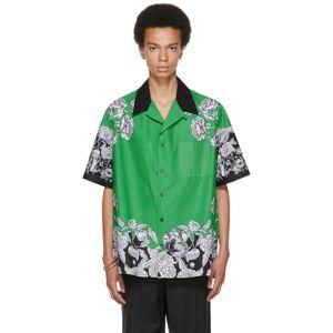 Valentino Green & Black Dark Blooming Short Sleeve Shirt  - C42 VERDE/DARK BLOOM - Size: Extra Large