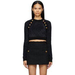 Balmain Black Knit Crop Top Sweater  - 0PA Noir - Size: 2X-Large