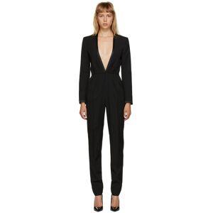 Saint Laurent Black Deep V-Neck Jumpsuit  - 1000 Black - Size: 28