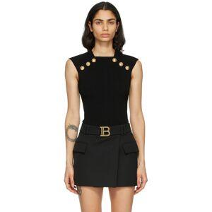 Balmain Black Knit Button Tank Top  - 0PA Black - Size: Medium