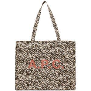A.P.C. Beige Leopard Diane Shopping Tote  - AAB White - Size: UNI