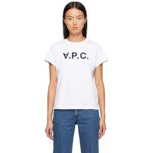 A.P.C. White VPC T-Shirt  - IAK NAVY - Size: Extra Large