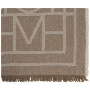Totême Brown Wool & Cashmere Monogram Scarf  - 895 Tobacco Monogram - Size: Extra Small